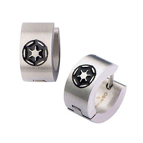 Stainless Steel Imperial Symbol Star Wars Huggie Earrings