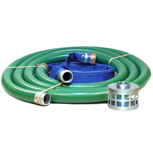 "Eagle PVC/Aluminum Water/Trash Pump Hose Kit, 3"" Green Suction Hose Coupled M x F WS, 3"" Blue Discharge Hose Coupled M x F WS, 29 Vacuum Rating, 70 PSI Maximum Temperature, 25"