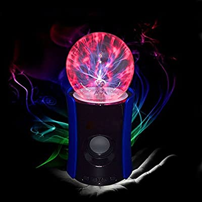 Ecandy Magic Music Plasma Ball Fantastic Flashing/Lightning ball mysterious flash lamp with mini wireless portable bluetooth speaker, USB Powered Plug and Sound Responsive Light Show from ECANDY