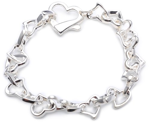 Silver Stylised Heart Link Bracelet of 19cm Length