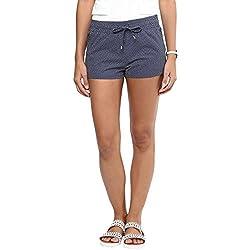 Hypernation Blue Polka Dot Cotton Shorts For Women