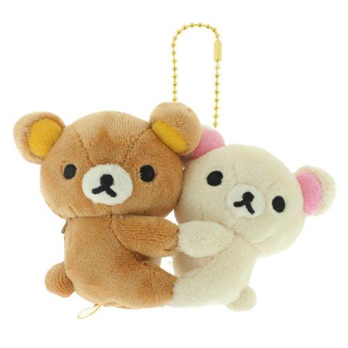 San-X Rilakkuma Happy Friend Plush Doll Ball Chain (Rilakkuma and Korilakkuma)
