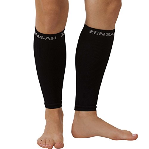 Zensah  Compression Leg Sleeves, Black, Small/Medium