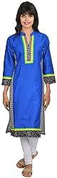 Goodyygoods Women's Cotton Regular Fit Kurti (GG 55, Blue , Large)