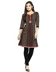 Indi Dori Women's Cotton Black With Front Button Jaipur Kurti