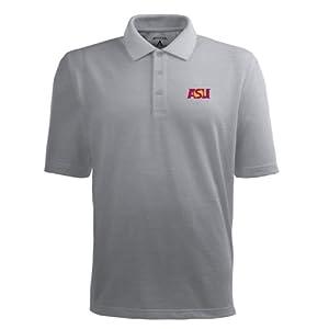 Arizona State Pique Xtra Lite Polo Shirt (Grey) by Antigua