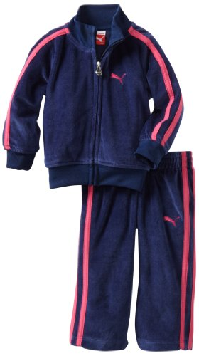 Puma - Kids Baby-Girls Infant Promo Velour Track Suit, Medieval Blue, 12 Months