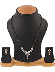 YouBella American Diamond Gold Plated Mangalsutra With Chain And Earrings For Women - B014RZRDBC