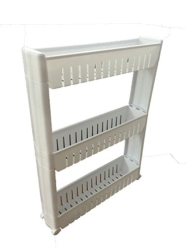 Slim Storage Cabinet Organizer Rolling Pull Out Cart Rack Tower With Wheels    3 Shelf   Shelving Ideas ...