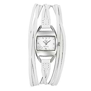 GO Girl Only - 697002 - Montre Femme - Quartz Analogique - Cadran Blanc - Bracelet Cuir Blanc