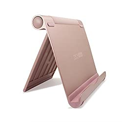 iPad Pro Stand, TechMatte Multi-Angle Aluminum Holder for iPad Pro 12.9 9.7 inch Tablets, E-readers and Smartphones - XL-Size Stand (Rose Gold)
