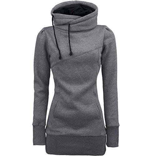 Culater® Moda Loose Women Pullover maglietta a maniche lunghe camicetta (M, Grigio)