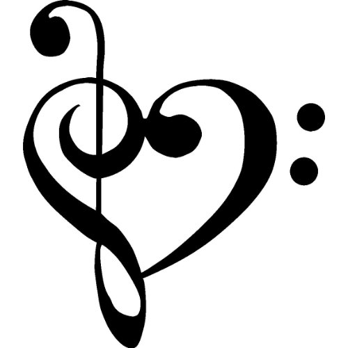 "1 X TREBLE BASS CLEF HEART Love of music 3.5"" BLACK Vinyl Decal Window Sticker for Laptop, Ipad, Window, Wall, Car, Truck, Motorcycle"