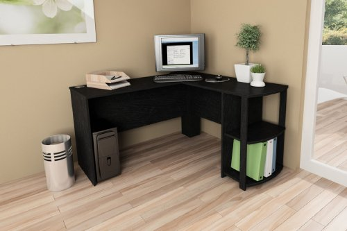 Ameriwood Home Dakota L Shaped Desk With Bookshelves Black Ebony Ash Toys Games Toys Executive Toys