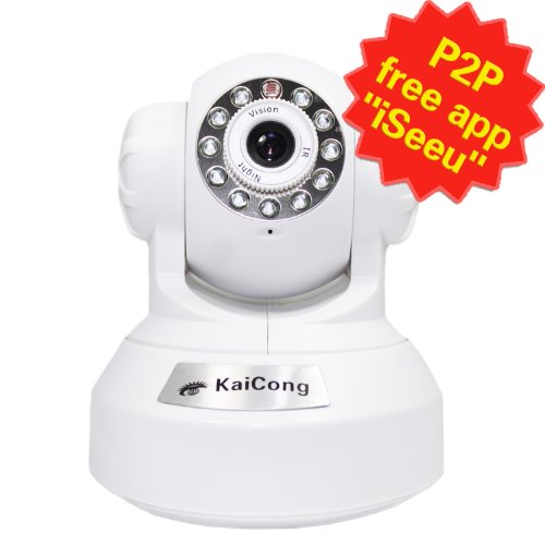 KaiCong Sip1601w/480P IP Camera/Mobile View/Baby Monitor/Remote View and Control/Pan & Tilt/Network Camera/Wifi Connection/Plug & Play/8 Meter Night Vision