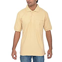 Comfort Plus Mens Casual Collar T Shirt With Pocket ( Beige )
