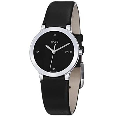 Rado Women's R30928715 Centrix Black Leather Strap Watch from Rado
