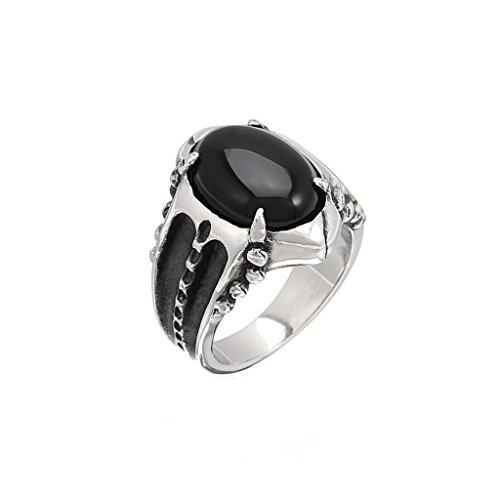 Moandy Jewelry Stainless Steel Men'S Fashion Rings Vintage Gemmed Drop Black Onyx Us Size 11
