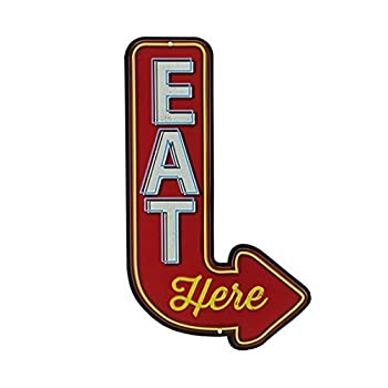 Open Road Brands 90151356 Die Cut Embossed Tin Sign, Eat Here Arrow