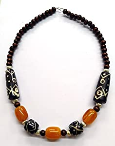 Beauty Wear's yellow,brown,black and gold colour pearl and ceramic finishing beads necklace
