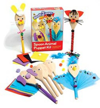Center Enterprise CE6902 READY2LEARN Spoon Animal Puppet Kit (Pack of 4)
