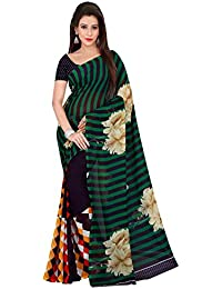 Shonaya Green & Black Georgette Printed Saree With Unstitched Blouse Piece