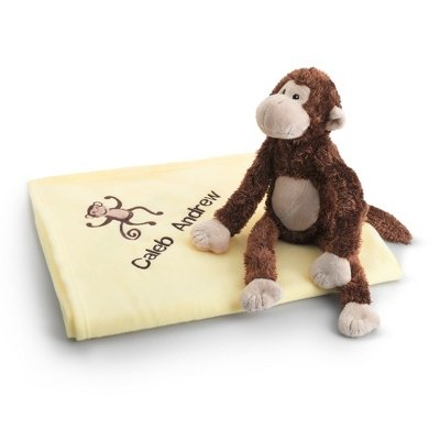 Personalized, Embroidered Monkey Magoo Baby Blankie front-261428