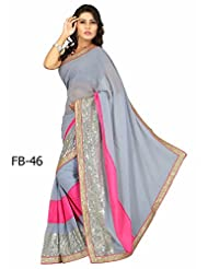 Fabboom New Pink And Grey Latest Arrival Traditional Saree (FB-46)