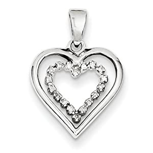 IceCarats Designer Jewelry Sterling Silver Diamond Heart Pendant