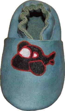 Cheap Tibet PLATEAU soft sole infant full grain baby shoes SUEDE black airplane blue (B001EXHU0K)