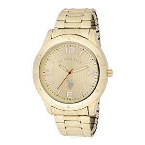 U.S. Polo Assn. Classic Men's USC80014 Oversized Bezel Gold Dial Expansion Watch