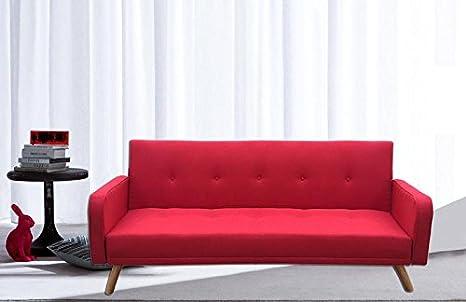 Divano letto microfibra rosso 3 posti reclinabile piedini legno