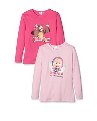 Fantasia Pack x 2 Camiseta Manga Larga Masha & Bear Rosa Claro / Rosa