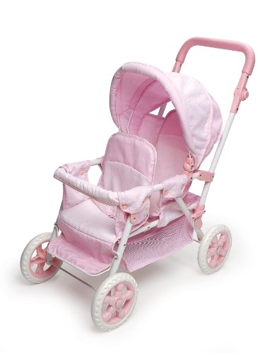 Badger Basket Folding Double Doll Front-to-Back Stroller - Pink/White Amazon.com