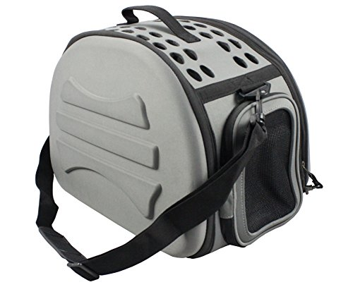 Narrow Shelled Lightweight Collapsible Military Grade Transportable Designer Pet Carrier, Dark Grey, One Size
