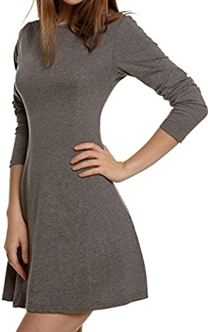 Meaneor Women's Long Sleeve Casual Slim Fit Flare Pleated Round Neckline Dress (L, Dark Gray)