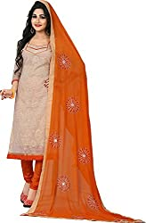 Orange Fab Women's Cream & Orange Embroidery Cotton Dress Material