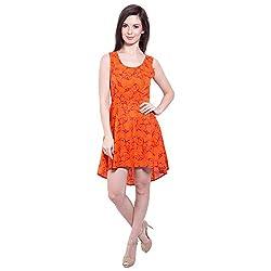 TUNTUK Women's Ginni Dress Orange Cotton Dress