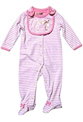 Juicy Couture Baby Girls Footed Coverall w/ Bib