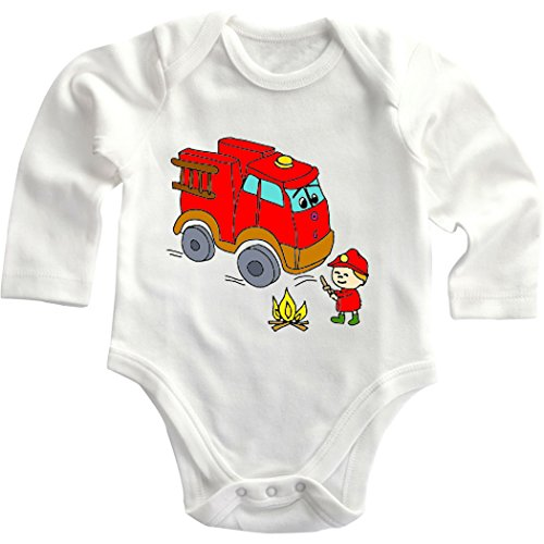 Red Fire Truck Cute Smiling Firefighter Long Sleeve Baby Bodysuit Creeper White Newborn front-853606