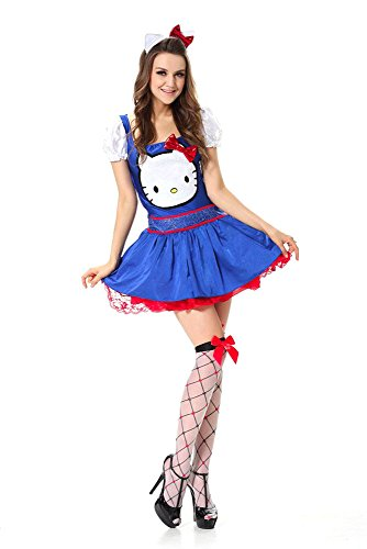 GALHAM - DHL Sexy Adult Blue Red Maid Hello Kitty Halloween Party Dress Costume