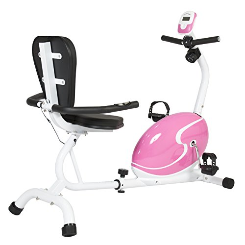 Best Choice Products Pink Magnetic Recumbent Exercise Bike Health Fitness Cycling Bicycle Workout
