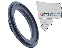 Photography Junction 49mm Lens Reversal Macro Ring + Free Photography Junction Premium Micro Fiber Cloth for Sony Cameras
