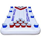 GoPong Pool Lounge Beer Pong Inflatable with Social Floating, White