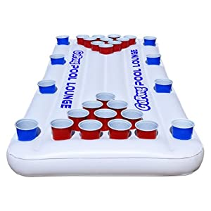 Buy GoPong Pool Lounge Beer Pong Inflatable with Social Floating, White by GoPong
