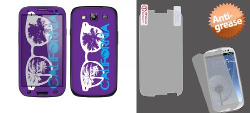 Combo Pack Cellet California Sunglasses Skin For Samsung Galaxy S3 And Mybat Anti-Grease Lcd Screen Protector/Clear For Samsung Galaxy S Iii (I747/L710)