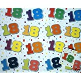 18th Birthday Wrapping Paper, 2 Sheets and 1 Matching Tag (WHITE)