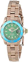 Invicta Womens 14101 Pro Diver Green Dial 18k Rose Gold