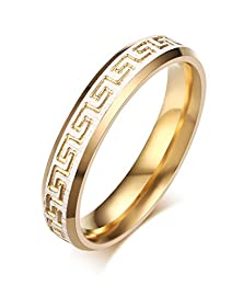 buy Stainless Steel Greek Key Pattern Couple Rings For Wedding Promise Engagement,White And Gold,Size 4