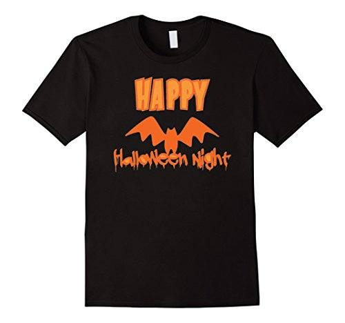 Men's Happy Halloween Night - Bat - Costume T-Shirt Medium Black (Halaween Costume)